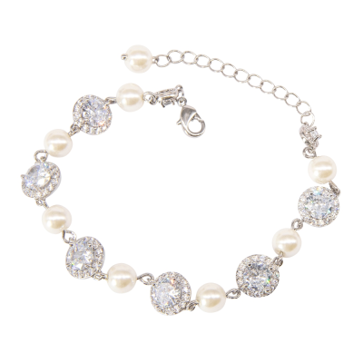 CUBIC ZIRCONIA COLLECTION - DAINTY STARLET BRACELET - BR122- SILVER
