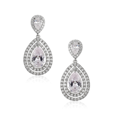 CUBIC ZIRCONIA COLLECTION - STARLET CRYSTAL EARRINGS-   CZER535 SILVER