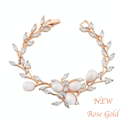 CUBIC ZIRCONIA - CHIC PEARL BRACELET - ROSE GOLD (CZBRA23)