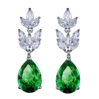 CUBIC ZIRCONIA COLLECTION - STARLET CHIC EARRINGS - CZER368 GREEN