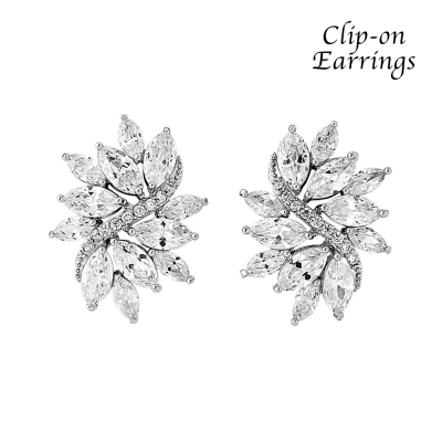 CZ COLLECTION  - CLIP ON -  CHIC CRYSTAL EARRINGS - CZER403