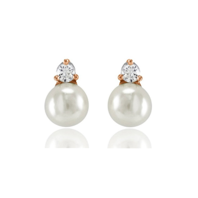 Cubic Zirconia Collection - Dainty Pearl Earrings - ER327 ROSE GOLD