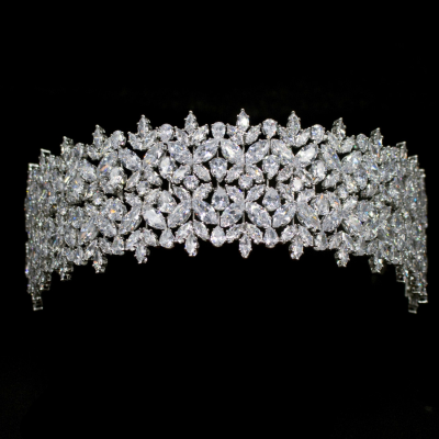 CUBIC ZIRCONIA COLLECTION - BEJEWELLED DECO HEADPIECE - SILVER - AHB63