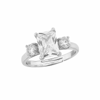 CUBIC ZIRCONIA COLLECTION - MEGHAN ADJUSTABLE RING - SILVER