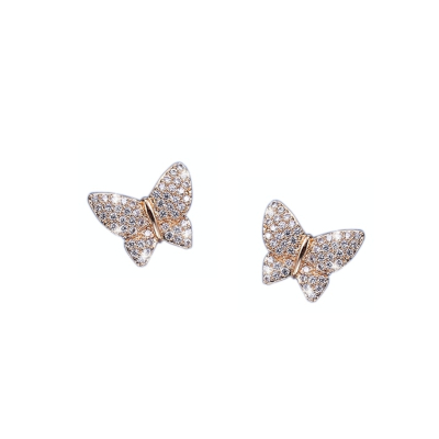 CUBIC ZIRCONIA COLLECTION - CRYSTAL BUTTERFLY EARRINGS - (CZER473) GOLD