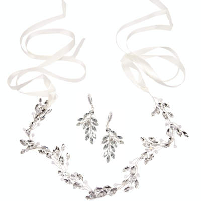 ATHENA COLLECTION - CHIC CRYSTAL VINE SET - HP175 - SILVER SET