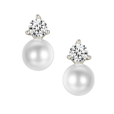 CUBIC ZIRCONIA COLLECTION - CLASSIC PEARL EARRINGS - CZER551