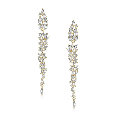 CUBIC ZIRCONIA COLLECTION - DAINTY STARLET CHANDELIER EARRINGS - GOLD  (CZER437)