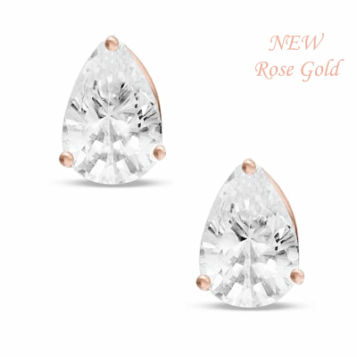 CUBIC ZIRCONIA COLLECTION -ROSE GOLD CLASSIC STUD EARRINGS -CZER397