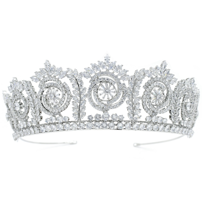CUBIC ZIRCONIA COLLECTION - BEJEWELLED STARLET TIARA - AHB66 - SILVER