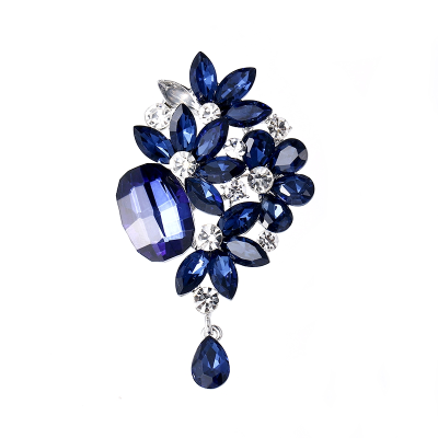 ATHENA COLLECTION - FLORAL GLAM BROOCH - BLUE - BROOCH 47
