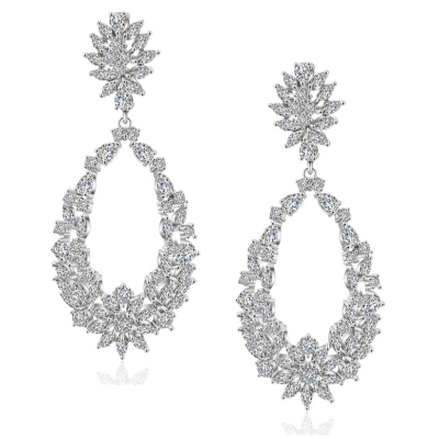 CUBIC ZIRCONIA COLLECTION - STARLET DAZZLE EARRINGS - CZER522 - SILVER