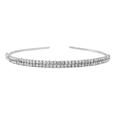 Two Row Crystal Headband - Clear (HB1639)