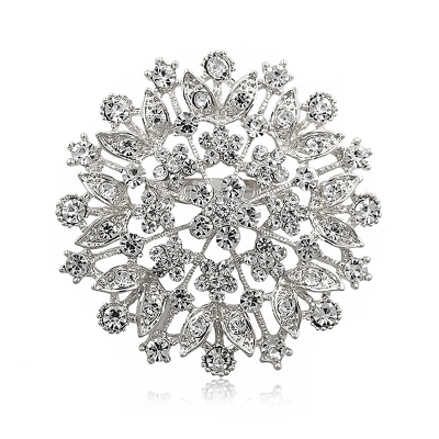 ATHENA COLLECTION - CRYSTAL CLUSTER BROOCH - SILVER (BROOCH 157)