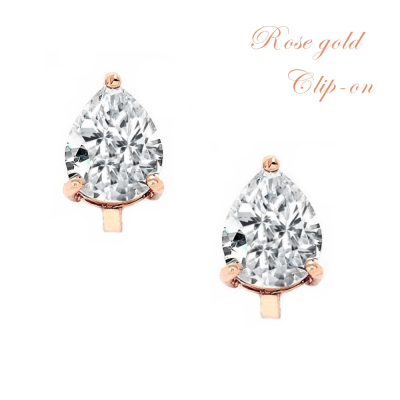 CUBIC ZIRCONIA COLLECTION - 2 CARAT CZ CLIP ON EARRINGS - (ROSE GOLD) CZER414 (CLIP ON)