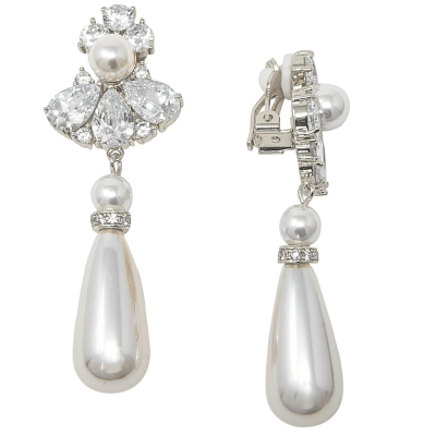 CUBIC ZIRCONIA COLLECTION - BEJEWELLED PEARL DROP EARRINGS - CLIP ON - CZER467- SILVER