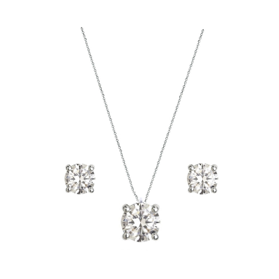 CUBIC ZIRCONIA COLLECTION - DAINTY CRYSTAL NECKLACE SET - CZNK80 SILVER