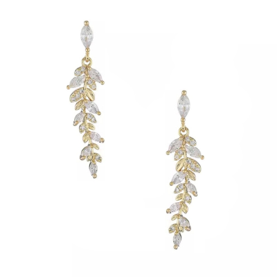 CUBIC ZIRCONIA COLLECTION - DAINTY STARLET EARRINGS -  CZER559 (18K GOLD)
