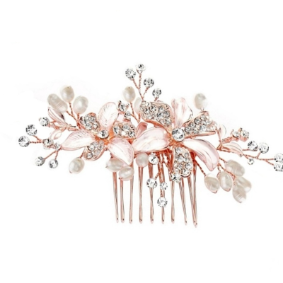 ATHENA COLLECTION - FLORAL ROMANCE HAIR COMB - (HC153) ROSE GOLD