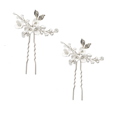 ATHENA COLLECTION - VINTAGE CHARM HAIR PINS - SILVER (PIN48) (PAIR)