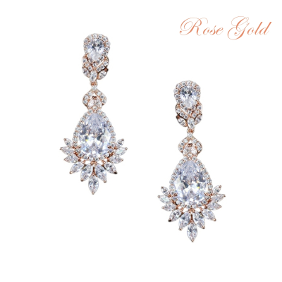 CUBIC ZIRCONIA COLLECTION - STATEMENT CHANDELIER EARRINGS - (CZER399)