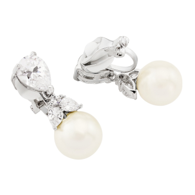 CUBIC ZIRCONIA COLLECTION - CLIP-ON GRACEFUL PEARL EARRINGS (CZER418) (CLIP ON)