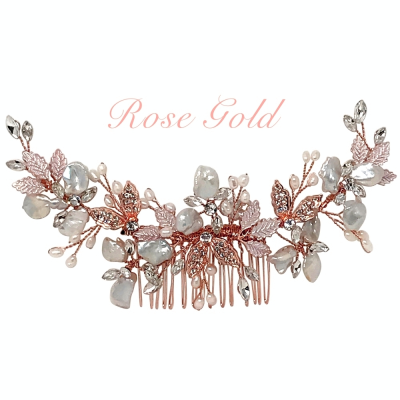 ATHENA COLLECTION - BEJEWELLED PEARL TREASURE COMB HC187 - ROSE GOLD