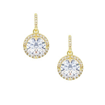CUBIC ZIRCONIA COLLECTION - CHIC SPARKLE EARRINGS - CZER555 (GOLD)