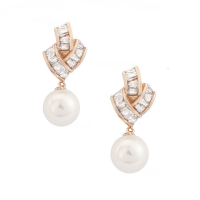 CUBIC ZIRCONIA COLLECTION - GATSBY GLAM EARRINGS - ROSE GOLD ( ER303)