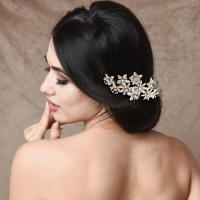 ATHENA COLLECTION - CRYSTAL BEJEWELLED HAIR COMB - GOLD (HC157)