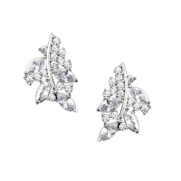 CUBIC ZIRCONIA COLLECTION - CHIC SPARKLE EARRINGS - CZER472 SILVER