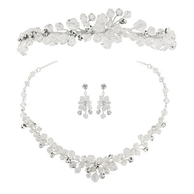ATHENA COLLECTION - Crystal Clear Tiara set - Silver
