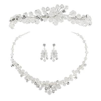 ATHENA COLLECTION - Crystal Clear Tiara set - Silver