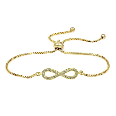 CUBIC ZIRCONIA COLLECTION - ADJUSTABLE CRYSTAL INFINITY BRACELET - GOLD (BRA25)