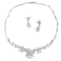 CUBIC ZIRCONIA COLLECTION - EXQUISITE STARLET NECKLACE SET - CZNK91 SILVER