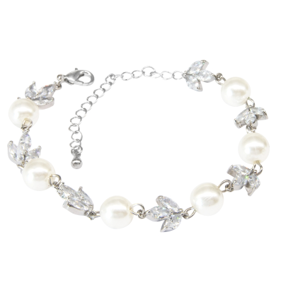 CUBIC ZIRCONIA COLECTION - SHIMMER  PEARL BRACELET - BR113 SILVER