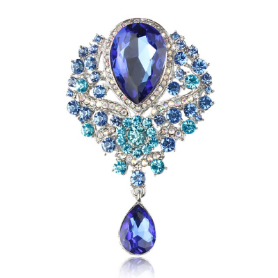 ATHENA COLLECTION - SHIMMERING STARLET BROOCH - (BROOCH 161) COBALT BLUE