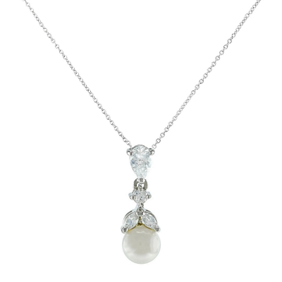 CUBIC ZIRCONIA COLLECTION - GRACEFUL PEARL NECKLACE- SILVER (CZNK76)
