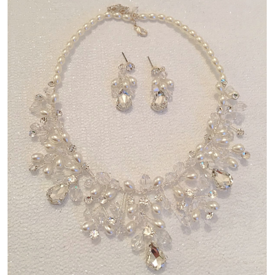 SALE ITEM - CHIC PEARL NECKLACE SET - (501) SILVER