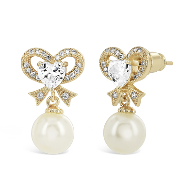 CUBIC ZIRCONIA COLLECTION - ETERNAL PEARL EARRINGS - CZ335 GOLD