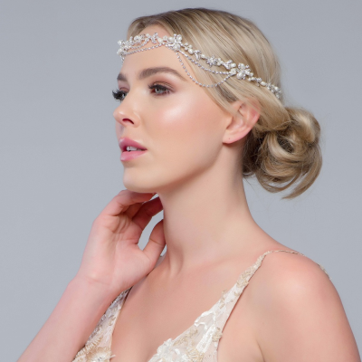 SASSB COLLECTION - GATSBY BEJEWELLED HEADPIECE - SILVER