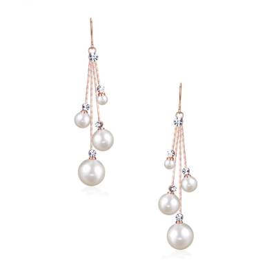 CUBIC ZIRCONIA COLLECTION - PEARL DROPS EARRINGS - ROSE GOLD CZER531