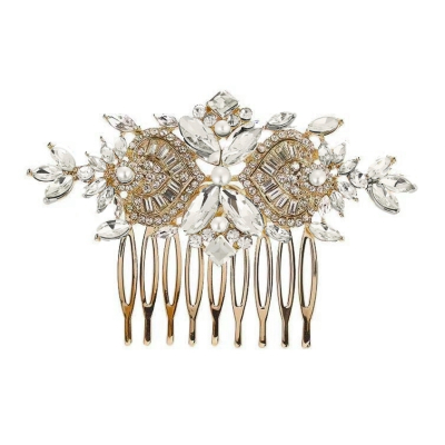 ATHENA COLLECTION - EXQUISITE CRYSTAL SPARKLE COMB - HC166 GOLD