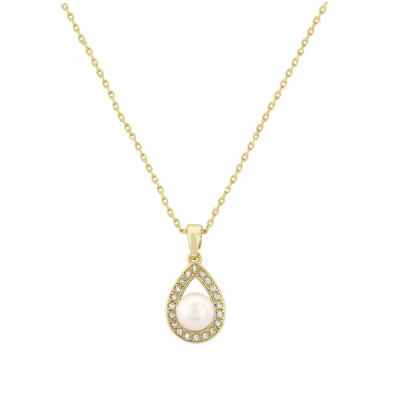 CUBIC ZIRCONIA COLLECTION -PRECIOUS PEARL NECKLACE CZNK59 (GOLD)