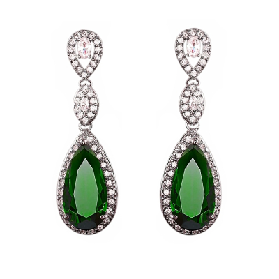 CUBIC ZIRCONIA COLLECTION - CRYSTAL SPLENDOUR EARRINGS - CZER393 EMERALD GREEN