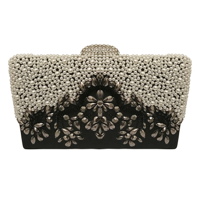 EXQUISITE GATSBY EMBELLISHED CLUTCH BAG - BLACK