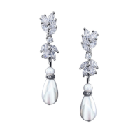 CUBIC ZIRCONIA COLLECTION - PEARL CHIC EARRINGS - (CZER481)