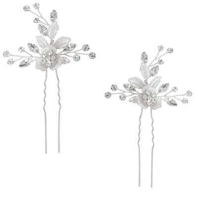 ATHENA COLLECTION - FLORAL ROMANCE HAIR PINS- PIN52 SILVER (PAIR)