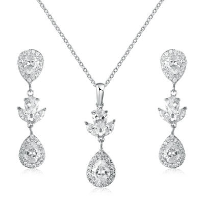 CUBIC ZIRCONIA COLLECTION - SIMLE ELEGANCE NECKLACE SET - CZNK105 SILVER