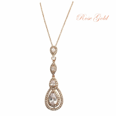 CUBIC ZIRCONIA COLLECTION - STARLET SPARKLE NECKLACE - CZNK75 ROSE GOLD